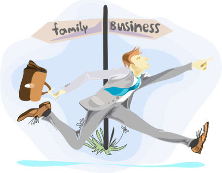 hardy:  businessman in a hurry Illustration