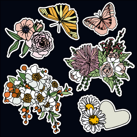 Set of roses and butterfly patches elements. Set of stickers, pins, patches and handwritten notes collection in cartoon 80s-90s comic style.Vector stickers kit