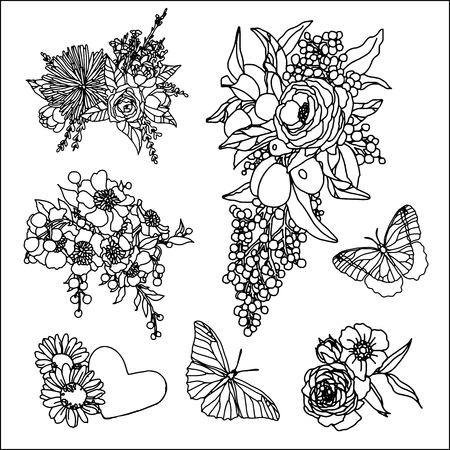drawing pin: Set of roses and butterfly patches elements. Set of stickers, pins, patches and handwritten notes collection in cartoon 80s-90s comic style.Vector stikers kit