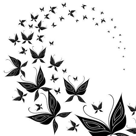 swarm: Black butterfly swarm flying  Illustration