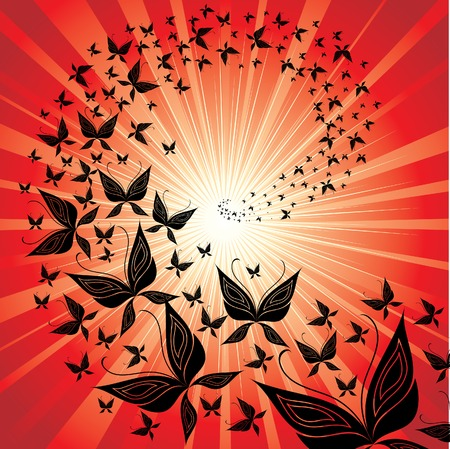Red background with butterfly swarm flying to the sunset  Illustration