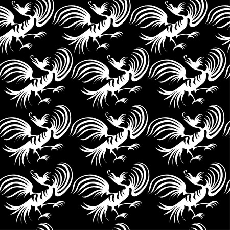 Seamless chinese dragon-bird pattern  Vector