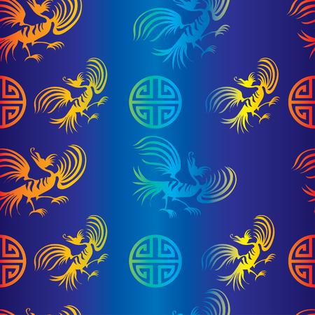 Seamless chinese dragon-bird pattern on blue background  Vector