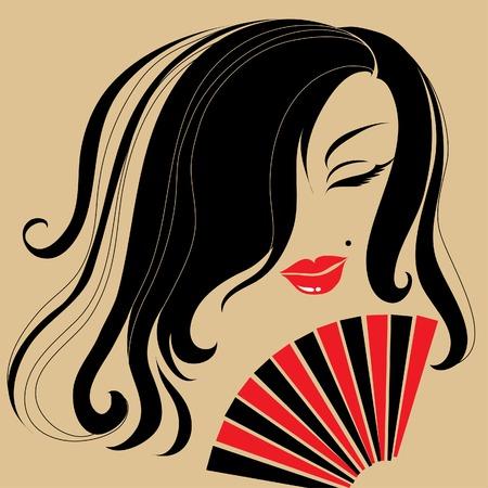 donna spagnola: Vintage spagnolo donna con i capelli lunghi e ventilatore
