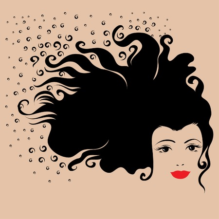 Vintage woman with black long hair  Vector
