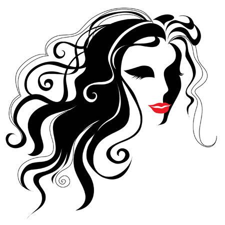 cabello largo y hermoso: Vintage mujer con el cabello largo Vectores