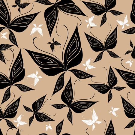 Seamless vintage beige butterfly pattern Vector