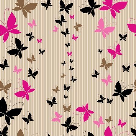 butterfly pattern: Seamless vintage beige butterfly pattern