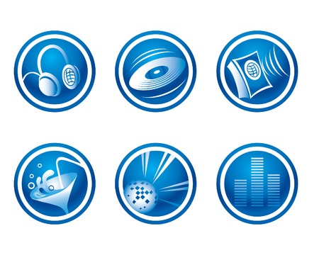 Blue party icons Stock Vector - 4311380