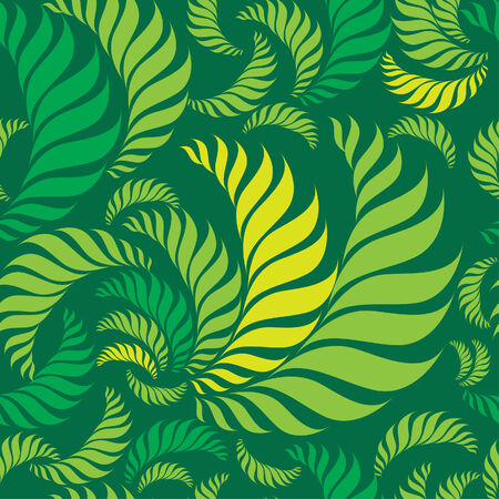 Seamless green floral pattern with fern leafs Vector