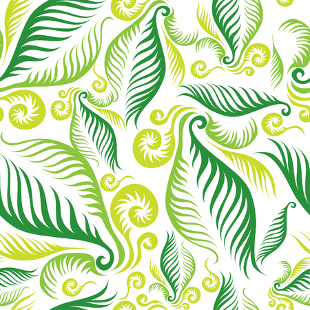 Seamless green floral pattern with fern leafs