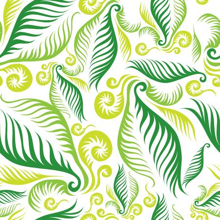 Sin fisuras patrón floral verde con hojas de helechos Ilustración de vector