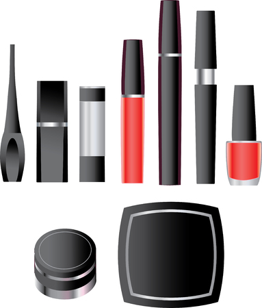 lip stick: Black make-up packages collection  Illustration