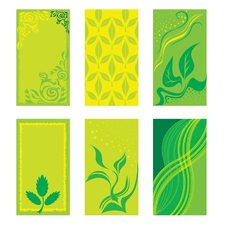 Set of green business cards Stock Vector - 4311461