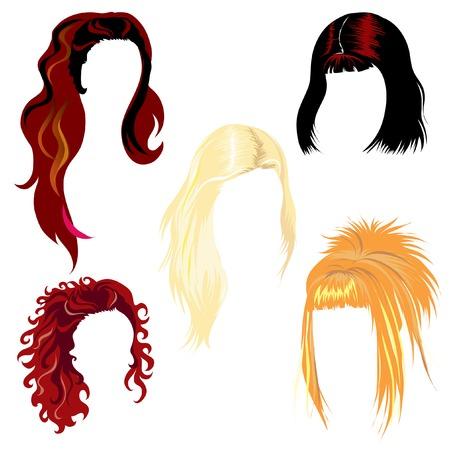 cabello largo y hermoso: Conjunto de pelo estilo Vectores