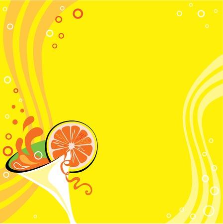 Coctail gele achtergrond Vector Illustratie