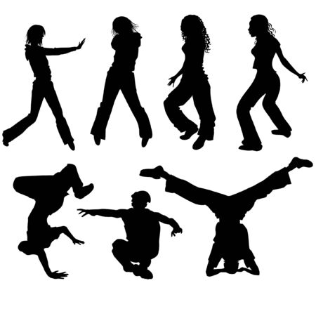 hang body: People dancing modern dances 2 Illustration