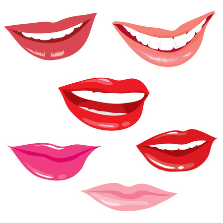 lips smile: Set of smiling lips Illustration