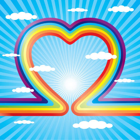 rainbow vector: Rainbow as a heart and the blue sky