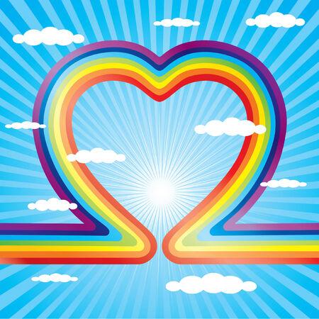 rainbow clouds: Rainbow as a heart and the blue sky