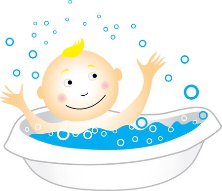 bathe: Baby having a bath Illustration