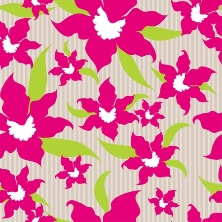 Seamless vintage orchid background Vector
