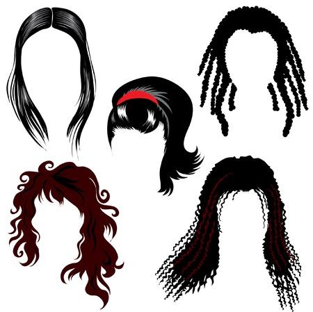 Brunette hair styling Vector