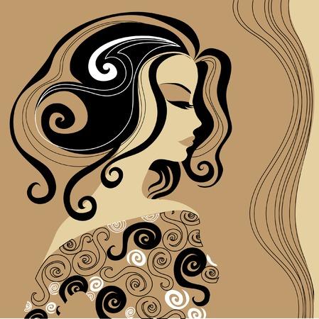 melancholy: Vintage vrouw met mooie haren