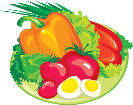 plate of food: Fresh salad Illustration