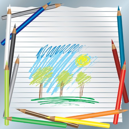 Background with color pencils and drawing Vector