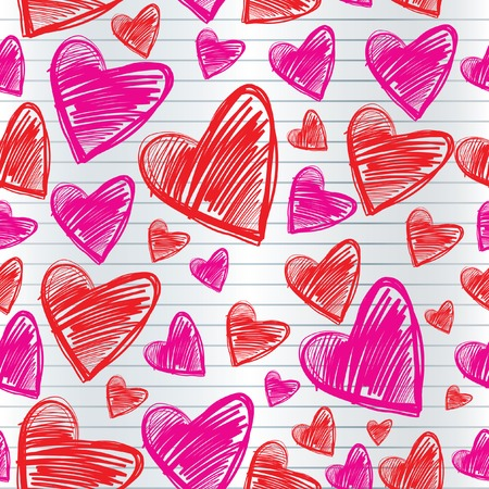 Seamless Valentines Day background with hearts Vector