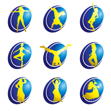 belly dance: Vector set of dance web icons