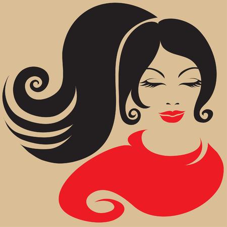 donna spagnola: Bella ragazza in sciarpa rossa Vettoriali