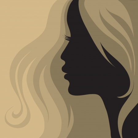 Closeup vintage woman with beautiful hair Vector