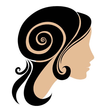 hair style: silhouette of a girl with long beautiful hair Illustration
