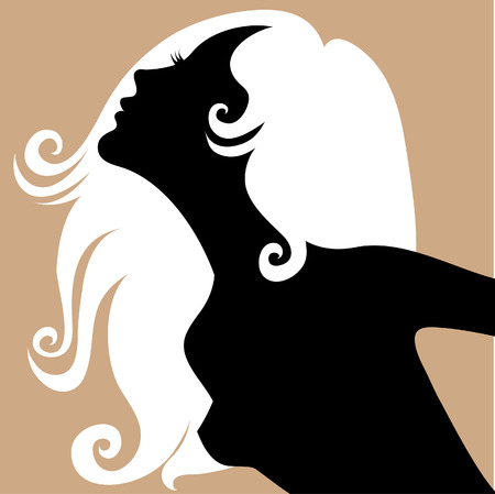 Portrait of blond girl with beautiful hair Vector