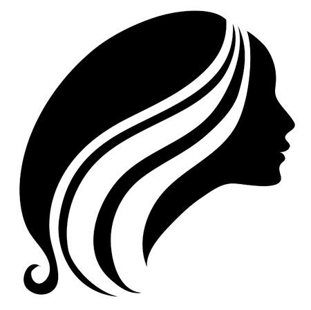 silhouet van een meisje met lange mooie haren Vector Illustratie