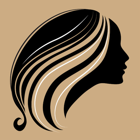 beautiful hair: silhouette of a girl with long beautiful hair Illustration