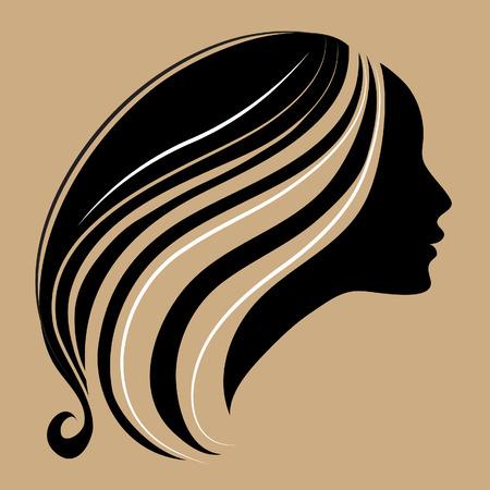cabello largo y hermoso: silueta de una chica con largo cabello hermoso