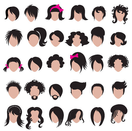Big set of vector hair styling Vector