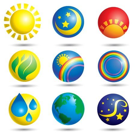 zon maan: Set van aard web iconen