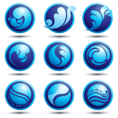 water wheel:  Vector set of nature water icons