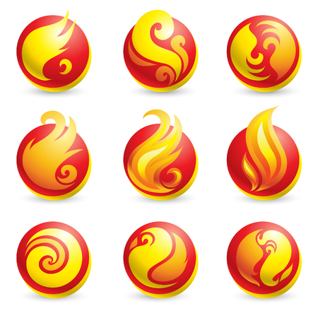 Set of hot fire corporate icons Stock Vector - 5051429