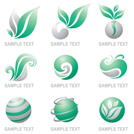 logos design: Set of symbols of nature, ecology