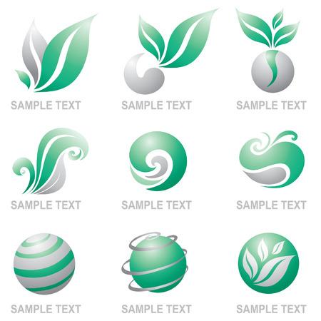 earth logo: Set of symbols of nature, ecology