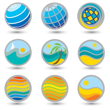 seacoast: Set of bright travel and vacation icons. Can be used for Travel agency
