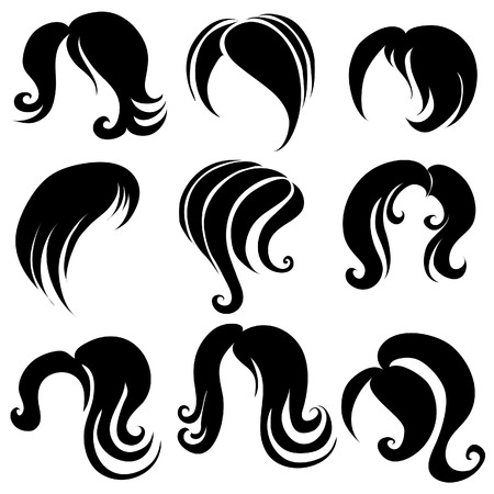 hair style set: Set of hair styling symbols Illustration
