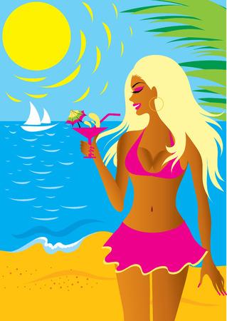 sun tan: Hermosa chica rubia en bikini con un c�ctel en la playa Vectores