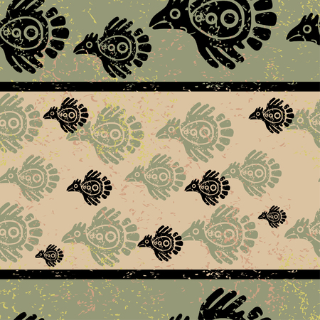 ethnical: Seamless grunge Mexican pattern with birds