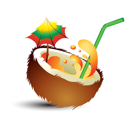Fresh tropical cocktail with straw Illustration